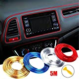 WICHEMI Car Interior Motor Exterior Decoration Moulding Trim Strip Line Sticker DIY Automobile Air Outlet Dashboard Decoration 3D Car Styling Molding Strip 5 Meters Red