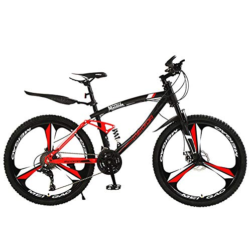 @Y.T Adult 26-inch Mountain Bike, 21/24/27-speed Shock-Absorbing Carbon Steel Frame Adjustable Seat Double Disc Brakes Men's Off-Road Bicycle