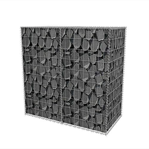 lyrlody- Jardinière à cage en pierre avec couverture en acier galvanisé pour maison et affaires Capacité de charge 1400 kg 150 x 50 x 100 cm