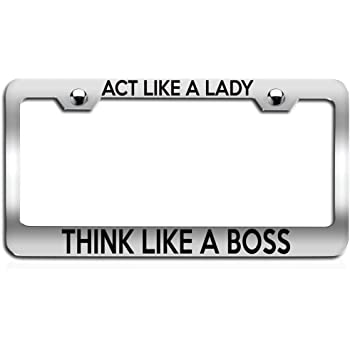 """Act Like A Lady Think Like A Boss License Plate Frame Plastic 12/"""" X 6/"""" Holder"""