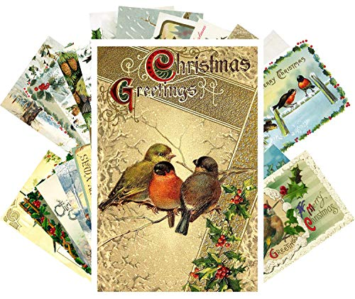 Vintage Christmas Greeting Cards 24pcs Amazing Winter Christmas Birds Reprint Antique Postcard Set