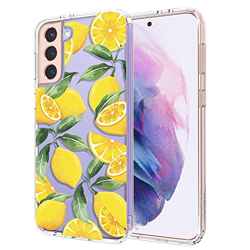 Case for Galaxy S21,MOSNOVO Shockproof TPU Bumper Slim Clear Case with Cute Design for Samsung Galaxy S21 5G Phone Case Cover - Lemon