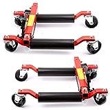 Posicionador de Coches, 4 Ruedas Giratorias Pedal 2 PC del Neumático Rueda de Carros de Estacionamiento for la Reparación del Vehículo del Coche Automático Carrito para Desplazar Coche ( Color : Red )