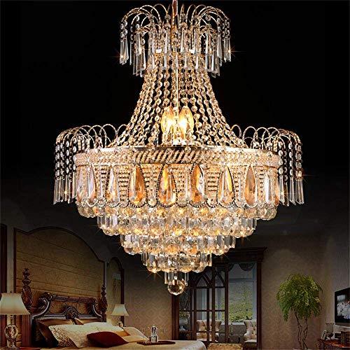 KALRI Modern K9 Crystal Chandelier Ceiling Light Fixture with 11 Lights Crystals Raindrop Luxurious Elegant Gold Pendant Lamp for Dining Room Hallway Stairway Bar Restaurant (H27.6'' x W23.6'')