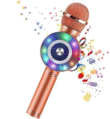 Wireless Bluetooth Karaoke Microphone,4-in-1 Multi-Function Handheld Karaoke Machine,Portable Kids Microphone Karaoke Player Speaker with LED & Music Singing Voice Recording for Home KTV Kids Outdoor