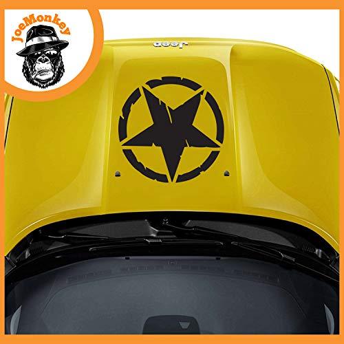 JoeMonkey Kit Adesivi-Stella Militare Vintage Cofano- Fuoristrada 4X4 Fiancate Cofano Jeep Renegade Suzuki Offroad Adesivi Stickers Fiancate qualità Top (Nero Opaco, 48x48 cm)
