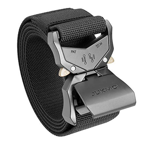 "JUKMO Tactical Belt, Military Hiking Rigger 1.5"" Nylon Web Work Belt with Heavy Duty Quick Release Buckle (Black, Medium)"