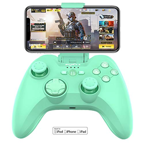 PXN 6603 Bluetooth Gamepad, MFi Certified Wireless Game Controller, Gaming Controller Joypad with Adjustable Clamp Holder Compatible with iOS iPhone/iPad/iPod/Apple TV (Green)