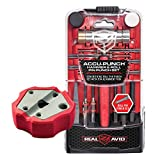 Real Avid Accu-Punch Hammer & Punches Set with Smart Bench Block, Combo (Hammer & Roll Pin Punches + Bench Block), Red