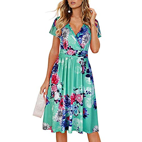 pitashe Dam sommar midi-klänning blommig kortärmad v-ringad kors framsida veckad festklänning med fickor eleganta damer casaul solklänning