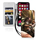 Attack On Titan Annie Leonhart Mikasa Ackerman Case iPhone Leather Card Slot Auto Wake/Sleep Protective Case Card Pocket Anti-Scratch Funny Case iPhone 11 Pro Max for Men