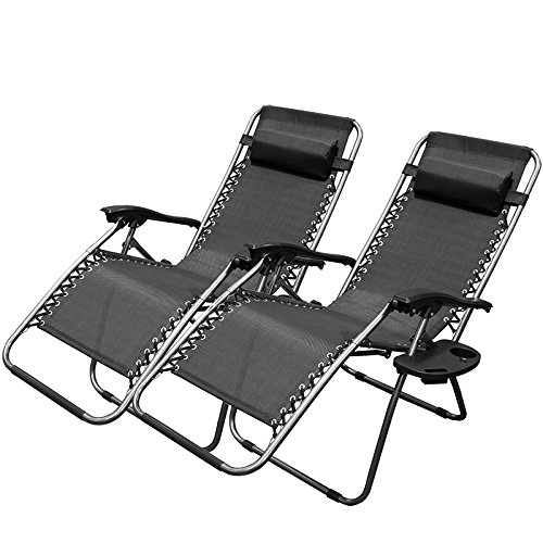 XtremepowerUS Zero Gravity Adjustable Reclining Chair Pool Patio Outdoor Lounge Chairs w/Cup Holder - Set of Pair (Black)