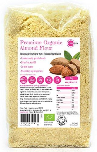 PINK SUN Amandes en Poudre Bio 1kg Farine D'Amande Pour la Cuisson - Amandes Blanchies Moulues Biologique Végétalien Végétarien Sans Gluten - Organic Ground Almonds 1000g