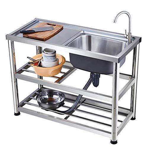 Giardino Fregadero de Cocina Comercial de Acero Inoxidable con Compartimento y Fregadero de Acero Inoxidable 304 con Soportes, (Cocina, lavandería, Patio Trasero, garajes)