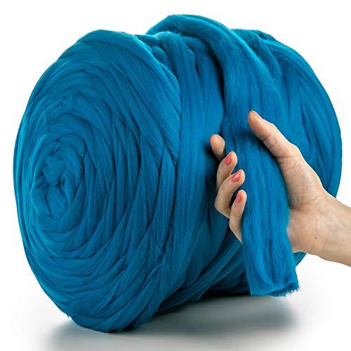 MeriWoolArt - Lana de merino 100 % para punto y ganchillo con hilo de 4-5 cm de grosor, lana de merino gruesa para bufanda, manta y cojín XXL, turquesa, 1 kg