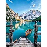 DIY 5D Diamond Painting by Number Kits, Crystal Rhinestone Embroidery Paint with Diamonds, Indoor Wall Decoration Gifts Arts and Crafts (Boat-Blue)