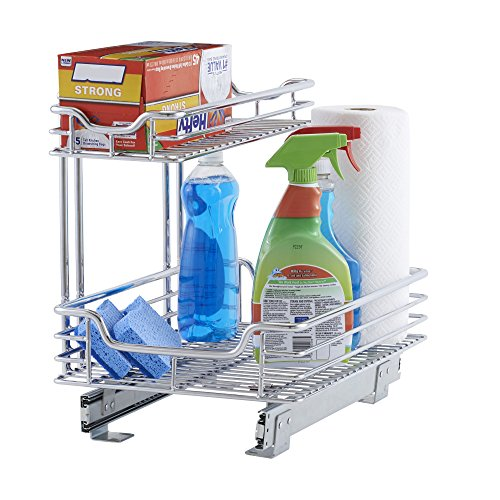 Household Essentials C26512-1 Glidez Under Sink Sliding Organizer | Pull Out Cabinet Shelf | Chrome | 12.5 Inches Wide