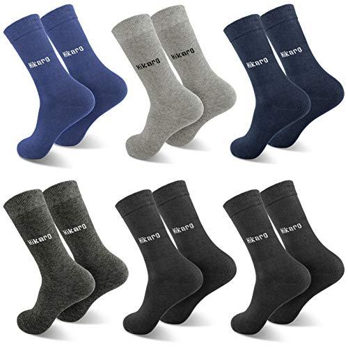 Marca Amazon - Hikaro Calcetines Hombre y Mujer, Negro Algodon Invierno Termicos Trabajo Deportes Calcetines 6 Pares, 43-46