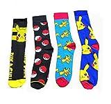 Bo Feng 4Pack Pokemon Socks for Men Women Funny Cute Compression Art Football Socks Boy Girls, Multicoloured, Medium