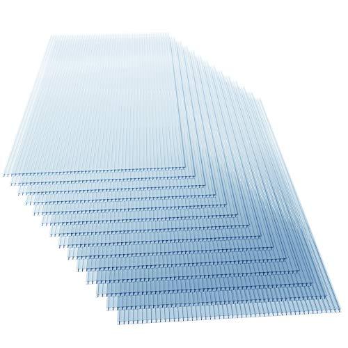 Deuba 14x Polycarbonat Hohlkammerstegplatten 4mm 10,25 m² Doppelstegplatte 1210x605 Stegplatte Gewächshausplatte