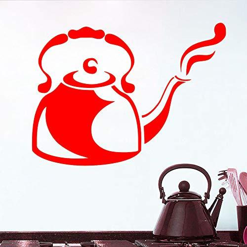 yiyiyaya Wandaufkleber Dampfenden Cafe Wasserkocher Küche Restaurant Große Größe Aushöhlen Vinyl Aufkleber Wandkunst Aufkleber Selbstklebende Wandtattoo rot 79 cm X 58 cm