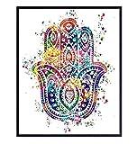 Hamsa Hand of Fatima Watercolor Art Print -...