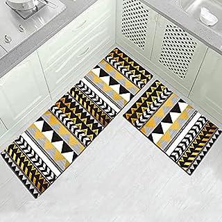 WESG Bohemisk kök halkfri golvmatta, badrum tvättbar matta, hem entré dörrmatta, sovrum vardagsrumsmatta nr.10 50 x 80 cm