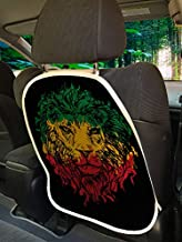 Ambesonne Rasta Car Seat Protector Set of 2, Ethiopian Flag Colors on Grunge Sketchy Lion Head Black Backdrop, Universal Kick Mat for Dirt Mud & Scratches, 18