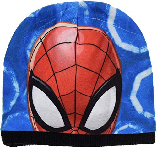 Marvel Official Boys Girls Kids Spiderman Cartoon Reversible Winter Beanie Ski Hat