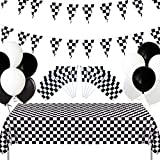 Checkered Race Car Party Supplies Include Checkered Race Banner, Table Cover Tablecloth, Black and White Balloons for Checkered Racing Party, Kid's Birthdays Party Decorations