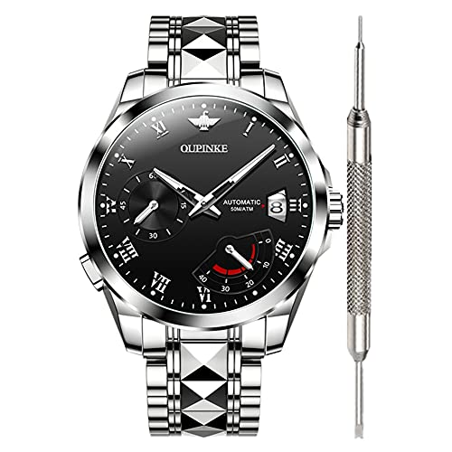 OUPINKE Black Automatic Watches for Men Waterproof Self Winding Wrist Watches for Men Fashion Men's Mechanical Automatic Watches Best Brand Tough Metal Wrist Watch