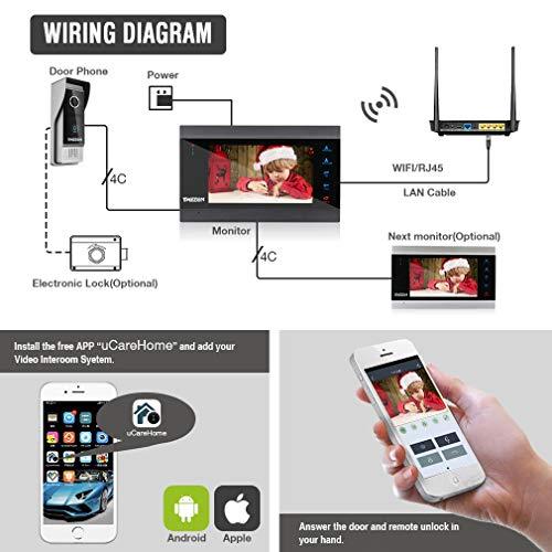 TMEZON Wifi IP Vidéo Interphone Visiophone,7 Pouce Moniteur et 1x1200TVL Sonnette de Caméra...