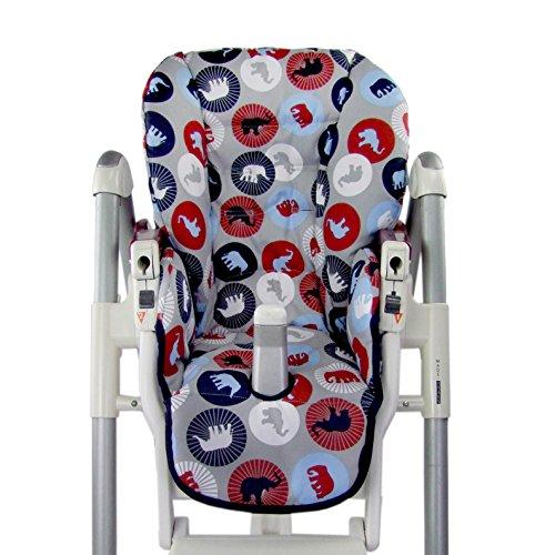BambiniWelt - Funda de asiento de repuesto para Peg Perego Prima Pappa Diner, diseño de elefantes, color azul marino