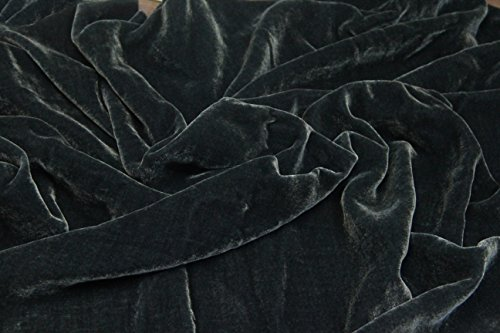 """100% SILK VELVET SOLID FABRIC 45""""W CLOTHING,DRAPERY,DRESSES 30 COLOR BY THE YARD (CHARCOAL)"""