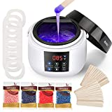 Waxing Kit, MANLI Wax Warmer, Wax Hair Removal with 4 Big Package (0.88lb. total) Hard Wax Beans and 30 Wax Applicator Sticks,10 Rings, Wax Heater for Full Body,Face,Legs,Underarm,Brazilian