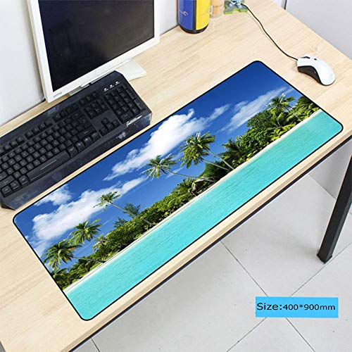 HonGHUAHUI Tropische eiland-strand-zonsondergang-spel, sperrand, grote muisonderlegger, computer-laptop-muisonderlegger, 400X900X2MM C03