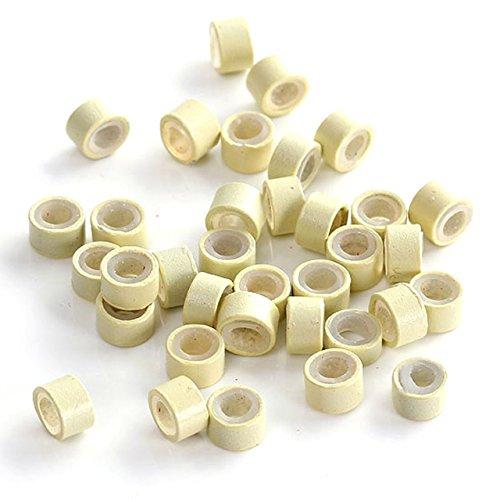 Faletony 500 Stück Microrings mit Silikon Einsatz Hair Extension Loops Micro Color Ring Beads für Haarverlängerung Haarverdichtung, blond/schwarz/braun