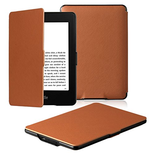 OMOTON Kindle Paperwhite Case Cover - The Thinnest Lightest PU Leather Smart Cover Kindle Paperwhite fits All Paperwhite Generations Prior to 2018 (Will not fit All New Paperwhite 10th Gen), Brown