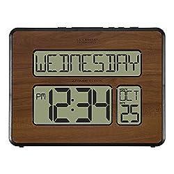La Crosse Technology 513-1419-WA-INT Atomic Large Full Digital Calendar Clock, 9.84 L x 1.14 W x 7.48 H, Walnut