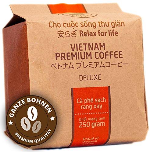 VietBeans Hello5 Deluxe – Hochwertige Kaffeebohnen aus Buôn Ma Thuột Vietnam – Edles Arabica Aroma mit kräftiger Note - hoher Koffeingehalt - 250g