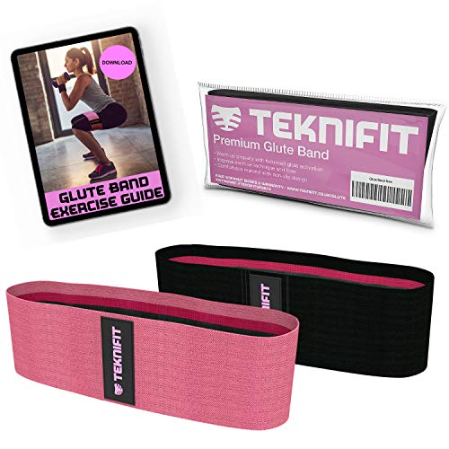 Teknifit Glute Band - Premium Fabric Resistance Band - Non Slip Design for Women - Pink OR Black Booty Band - Inc. Free Workout E-Book (DOWNLOAD) with Butt and Leg Toning Exercise Guide