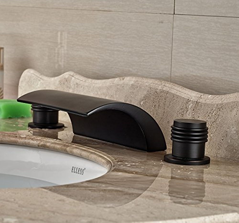 Retro Deluxe Fauceting3Pcs Oil Rubbed Broze Tub Faucet Vanity Sink Bathroom Faucet Hot&Cold Tap