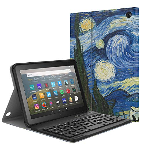 MoKo Keyboard Funda Compatible con All-New Fire HD 8 Tablet and Fire HD 8 Plus Tablet (10th Generation, 2020 Release), Wireless Bluetooth Teclado Funda QWERTY - Noche Estrellada
