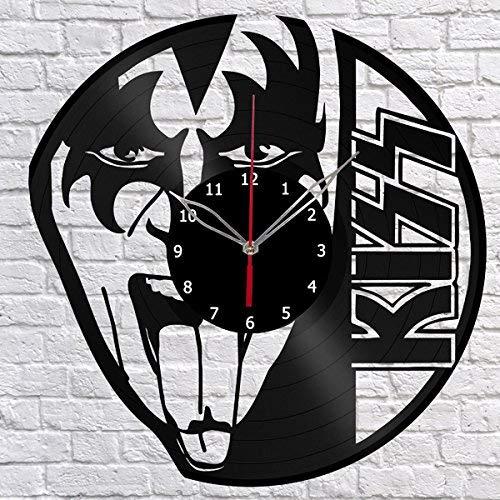 Kiss Vinyl Record Wall Clock Fan Art Design Decor Original Gift Unique Decorative Vinyl Clock Black 12