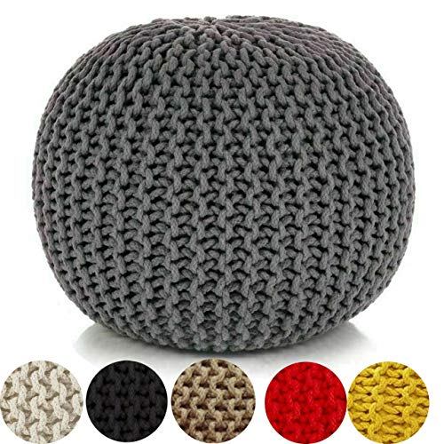 YORKSHIRE HOMEWARE Large 100% Cotton Chunky Knitted Round Pouffe Handmade Bean Filled Home Living Room Children Foot Stool Ottoman (Grey)