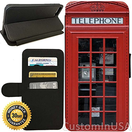 Flip Wallet Case for iPhone 8 Plus (Red Telephone Booth Best of London) with Adjustable Stand and 3 Card Holders | Shock Protection | Lightweight | Includes Free Stylus Pen by Innosub