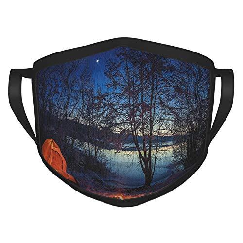 wokao Camper iluminado tienda de campaña en invierno campamento por la noche naturaleza exploración trekking imagen azul oscuro naranja reutilizable cara bufanda