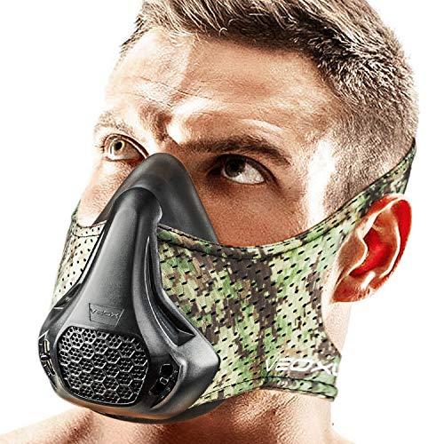 VEOXLINE Trainingsmaske, 24 Widerstandsstufen, für Sport, Workout, Laufen, Radfahren, Fitness, Joggen, Cardio-Übungen für Männer und Frauen, camouflage, Universal