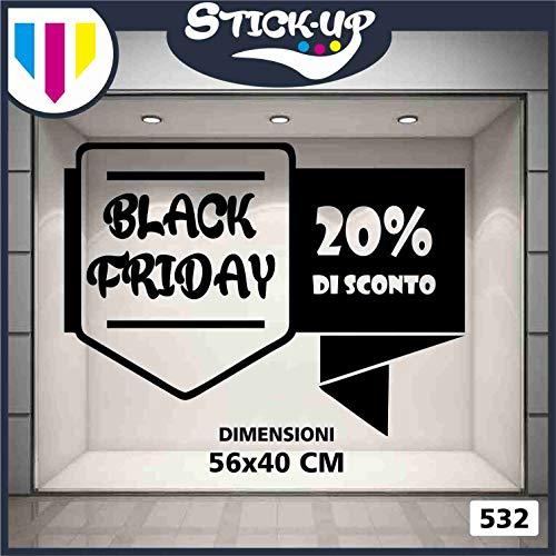 Kit Adesivi Black Friday percentuali sconti Varie Dimensioni Vetrofania Bar, Ristorante,Abbigliamento Adesivo Murale Adesivo Art Stickers Decal (1pezzo 20% 56x40cm)