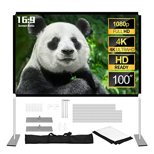 Emart 100 inch Projector Screen with Stand, 16:9 4K HD Video Projection Screens for Outdoor Movies Portable Projector Screen Indoor Home Theater TV, Backyard Front & Rear Projection Screen Outside Use